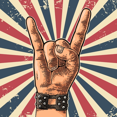 Rock and Roll hand sign. Hand drawn in a graphic style. Vintage vector engraving illustration for info graphic, poster, web.