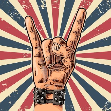 Rock and Roll handteken. Hand getekend in een grafische stijl. Vintage vector illustratie voor info afbeelding, poster, web gravure. Stock Illustratie