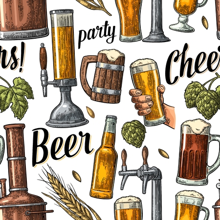 drawn metal: Seamless pattern beer tap, hand hold glass, bottle and hop. Vintage vector engraving illustration for web, poster, invitation to beer party. Hand drawn color design element isolated on white background. Illustration