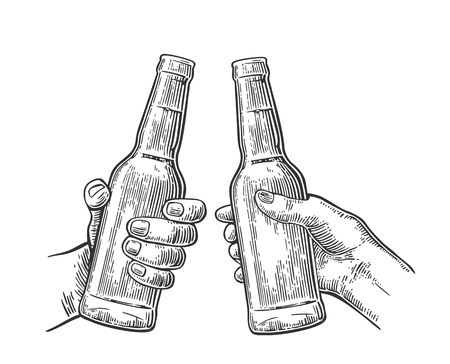 Female and male hands holding and clinking open beer bottles. Vintage vector balck engraving illustration for web, poster, invitation to party. Isolated on white background. Ilustração