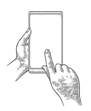 Mâles mains tenant et touchant un grand téléphone mobile. Illustration de gravure vecteur noir vintage dessiné pour info graphique, poster, web. Isolé sur fond blanc Vecteurs