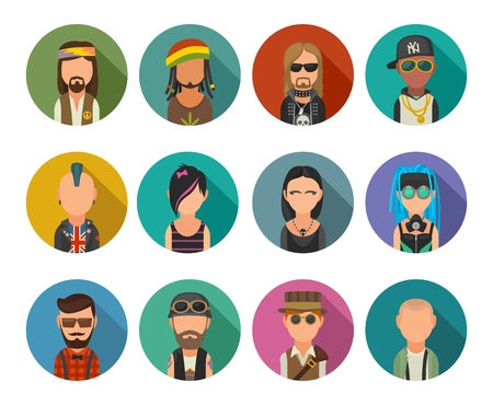 Set icon different subcultures people. Hipster, raper, emo, rastafarian, punk, biker, goth, hippy, metalhead, steampunk, skinhead, cybergoth. Vector flat illustration on color circle.