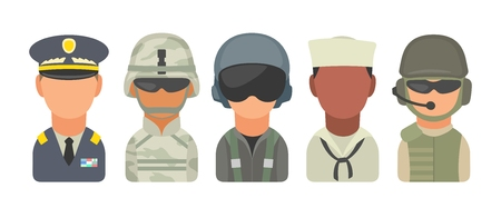 commander: Set icon character military people. Soldier, officer, pilot, marine, trooper, sailor. Vector flat illustration on turquoise circle
