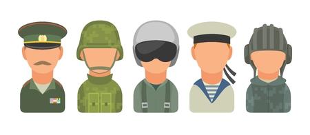 Impostare il personaggio icona dei militari russi. Soldato, ufficiale, pilota, marinaio, soldato, marinaio. Illustrazione piatta vettoriale sul cerchio turchese