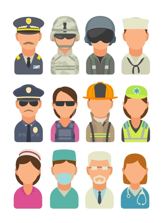 Set icon people different professions. Soldier, officer, pilot, marine, sailor, police, bodyguard, fireman, paramedic and medic. Vector flat illustration on turquoise circle
