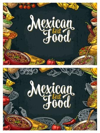 enchilada: Mexican traditional food restaurant menu template with Guacamole, Quesadilla, Enchilada, Burrito, Tacos, Nachos, Chili con carne and ingredient. Illustration
