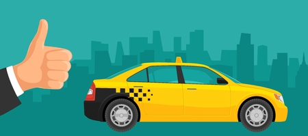 Taxi car and Hand showing symbol Like. Vector color flat illustration.
