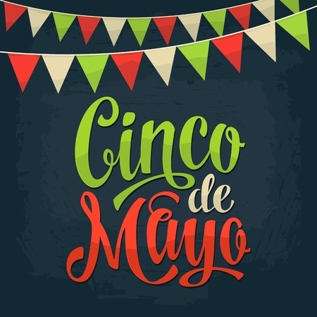 Cinco de Mayo lettering and garland. Vector color vintage engraving illustration. Isolated on dark background.