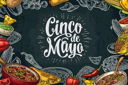 enchilada: Cinco de Mayo lettering and Mexican traditional food with Guacamole, Quesadilla, Enchilada, Burrito, Tacos, Nachos, Chili con carne, ingredient. Illustration