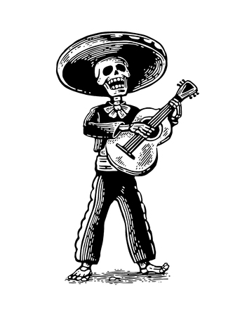 Day of the Dead, Dia de los Muertos. The skeleton in the Mexican man national costumes sing and play the guitar. Vector hand drawn vintage engraving for poster, label. Isolated on white background Illustration