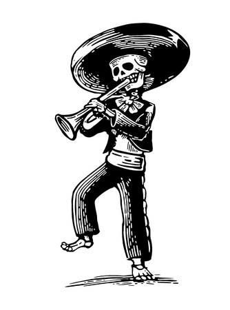 Day of the Dead, Dia de los Muertos. The skeleton in the Mexican national costumes dance and play the trumpet. Illustration