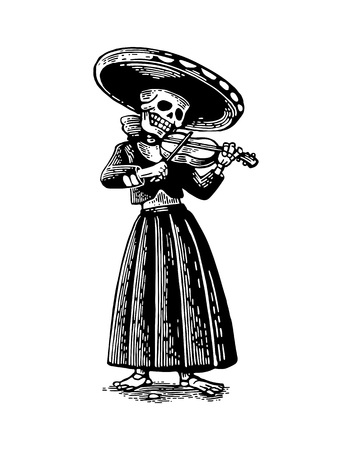 ballad: Day of the Dead, Dia de los Muertos. The skeleton in the Mexican woman national costumes sing and play the violin. Vector hand drawn vintage engraving for poster, label. Isolated on white background Illustration