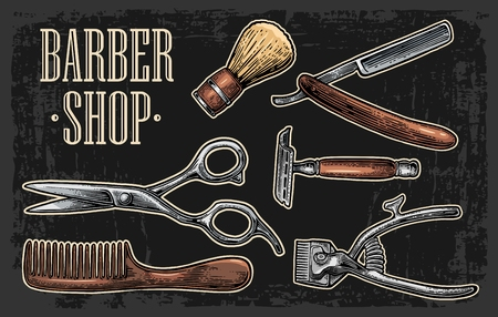 Set tool for BarberShop with comb, razor, shaving brush, scissors.