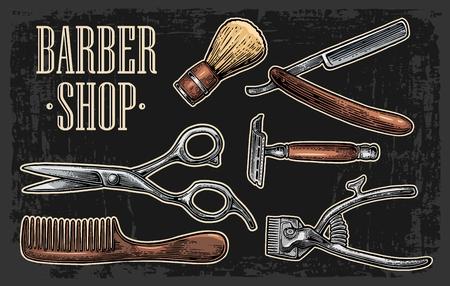 Set tool for BarberShop with comb, razor, shaving brush, scissors.