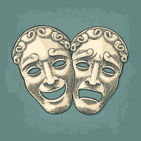 喜劇と悲劇の劇場マスク。ベクトルは、ヴィンテージの黒とベージュのイラストを彫刻します。シャドウと青緑色の背景上に分離。