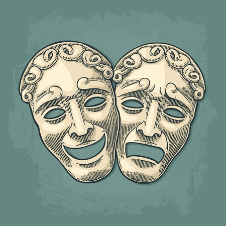Comedy and tragedy theater masks. Vector engraving vintage black and beige illustration. Isolated on turquoise background with shadow.