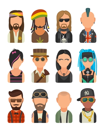 subcultures: Set icon different subcultures people. Hipster, raper, emo, rastafarian, punk, biker, goth, hippy, metalhead, steampunk, skinhead, cybergoth. Vector flat illustration on white background Illustration