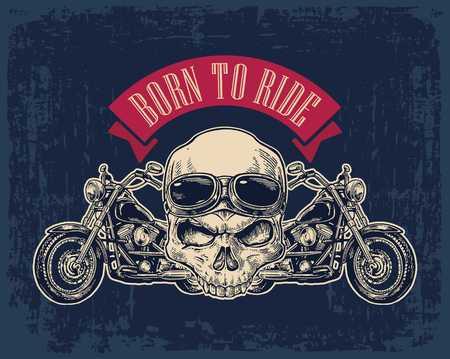 오토바이 측면보기와 안경 두개골입니다. 핸들 위에 올려 놓습니다. 벡터 새겨진 된 그림 어두운 빈티지 배경에 고립입니다. 웹용, 포스터 오토바이 클