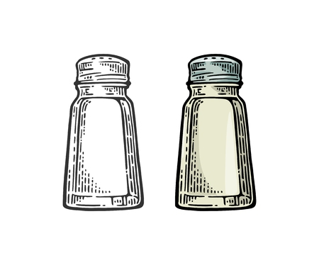 Salt shaker. Vintage black and color vector engraving illustration for label, poster, web. Isolated on white background