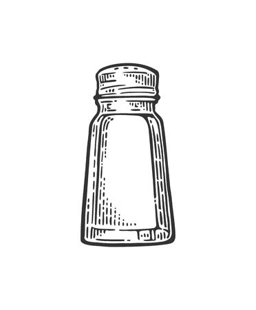 Salt shaker. Vintage black vector engraving illustration for label, poster, web. Illustration