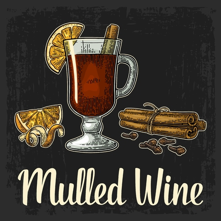 Mulled wine with glass and ingredients. Cinnamon stick, clove, lemon slice and peel twirled . Isolated on black background. Vector color vintage engraving illustration. Hand drawn lettering for poster