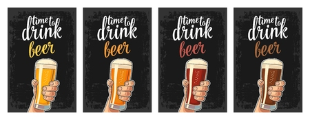 Male hand holding a glass with four types beer - light, white, red and dark. Vector flat color illustration for web, poster, invitation to party. Isolated on dark vintage background
