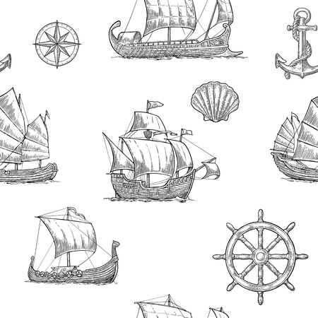 Seamless pattern with trireme, caravel, drakkar, junk, anchor, shell, wheel. Vintage black vector engraving illustration for poster, label, postmark. Isolated on white background.