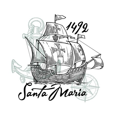 Sailing ship floating on the sea waves. Caravel Santa Maria. Compass rose and Hand drawn design element. Vintage black vector engraving illustration for poster Day Columbus.