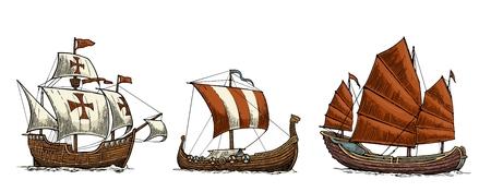 Caravel, drakkar, junk. Set sailing ships floating on the sea waves. Hand drawn design element. Vintage color vector engraving illustration for poster, label, postmark. Isolated on white background. Ilustrace