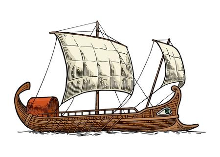 Trireme 바다 파도에 떠있는입니다. 손으로 그려진 된 디자인 요소 항해 배입니다. 포스터, 레이블, 소인에 대 한 빈티지 색 벡터 조각 그림. 흰 배경에 고