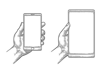 現代の携帯電話を持っている男性の手。ビンテージ描画ベクトル彫刻