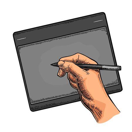 note pad: Hand writes on the tablet stylus Vector black vintage engraving on black presentation Illustration