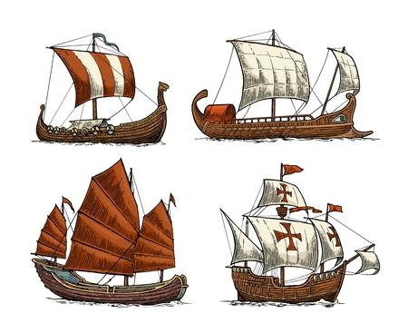 Trireme, caravel, drakkar, junk. Stel zeilschepen drijvende zeegolven in. Stock Illustratie