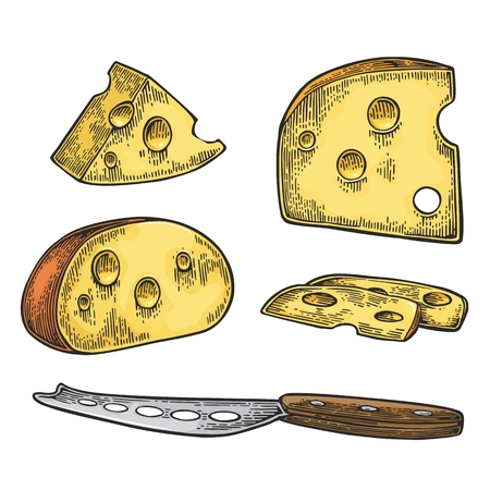 cork screw: Pieces of Cheese and knife. Half round head and triangle of cheese. Illustration