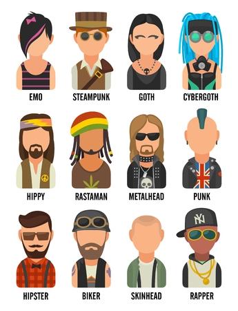 Set icon different subcultures people. Hipster, raper, emo, rastafarian, punk, biker, goth, hippy, metalhead, steampunk, skinhead, cybergoth. Illusztráció