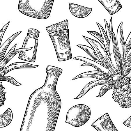 Seamless pattern of bottle, glass tequila, salt, cactus and lime Stock Illustratie