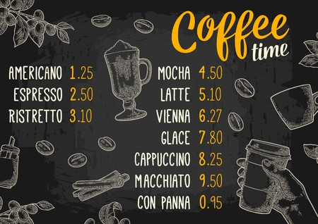 Restaurant or cafe menu coffee drinck with price. Stok Fotoğraf - 76371531