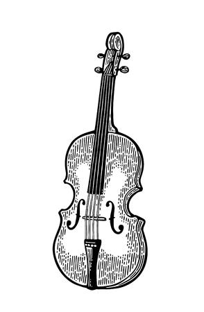 Violin. Vintage black engraving illustration Illustration