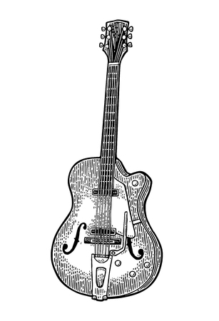 半音響のギター。ビンテージ ベクトル黒彫刻イラスト 写真素材 - 76737179