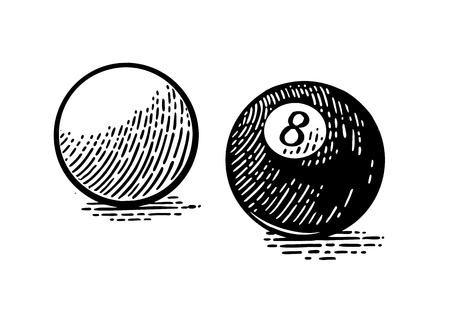 Witte en acht biljartballen. Vintage zwarte gravure Stock Illustratie