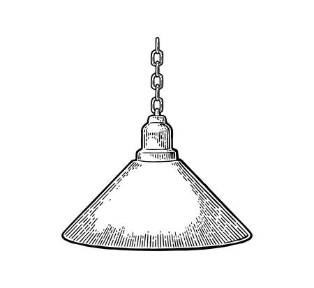 Hanglamp met ketting. Vintage zwarte gravure