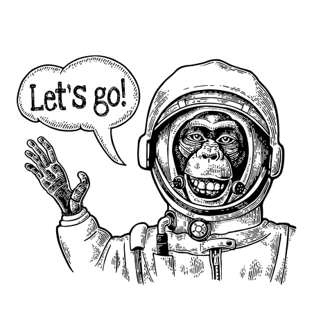 Monkey in astronaut suit smiles and waves his hand. Vintage black engraving 向量圖像