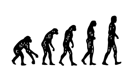 hunched: Theory evolution of man. From monkey to man. Vintage engraving