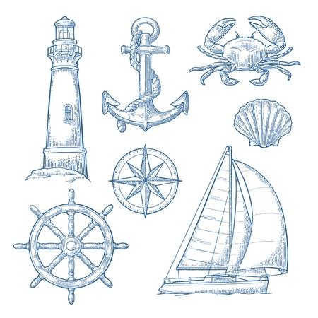 Âncora, roda, veleiro, rosa de compasso, concha, caranguejo, gravura de farol Ilustración de vector