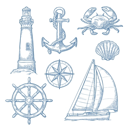 Anchor, wheel, sailing ship, compass rose, shell, crab, lighthouse engraving