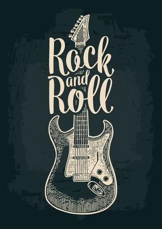 Elektrische gitaar. Rock and Roll letters. Vintage vector gravure illustratie voor poster, web. Geïsoleerd op donkere achtergrond.