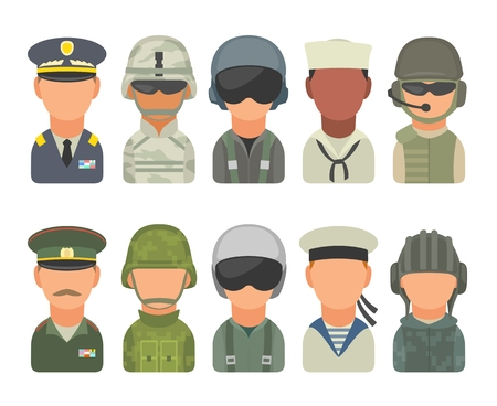 Set icon character russian and american military people. Soldier, officer, pilot, marine, trooper, sailor. Vector flat illustration on white background.