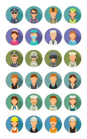 Set icon people different professions. Character cook, builder, business, army, police, fireman and medic. Vector flat illustration on colorful circle. Çizim