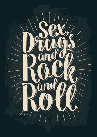 Letras de sexo y rock and roll con rayos. Ilustración de vector vintage para cartel, web. Aislado en el fondo oscuro. Foto de archivo - 77514605