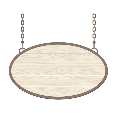 Blank oval wooden signboard hanging on metallic chain. Vector flat monochrome illustration isolated on white background. For poster, presentations